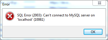 SQL Error (2003): Can't connect to MySQL server on 'localhost' (10061)